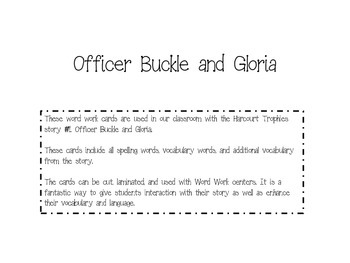 Offier Buckle and Gloria (Harcourt) Fluency Cards