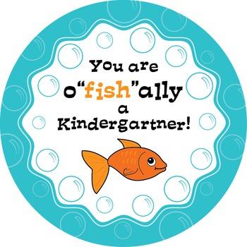 "O""fish""ally a Kindergartener: tag, sticker or badge!"
