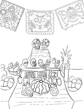 Mexican Ofrenda Coloring Page