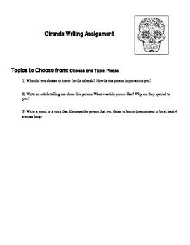 Ofrenda Writing Assignment