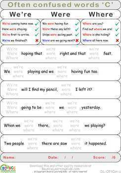 Often confused words (16 Literacy sheets)