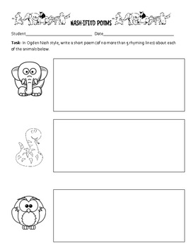 Ogden Nash Teaching Packet - Creative Writing Activity