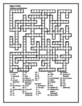 Oggi in Italia Lezione preliminare Crossword