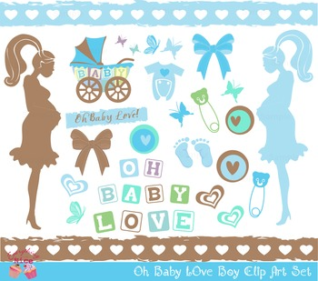 Oh Baby Boy Mom Mommy to be Clipart Set