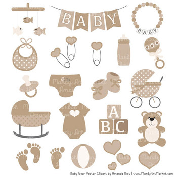 Oh Baby Clipart & Vectors Set in Champagne