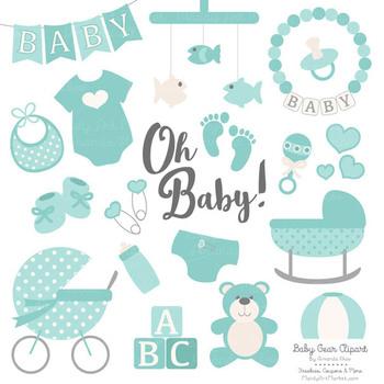 Oh Baby Clipart & Vectors Set in Aqua