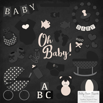 Oh Baby Clipart & Vectors Set in Black