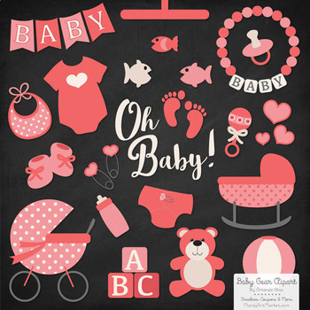 Oh Baby Clipart & Vectors Set in Coral