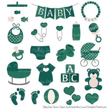 Oh Baby Clipart & Vectors Set in Emerald