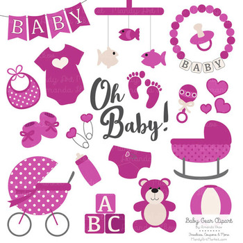Oh Baby Clipart & Vectors Set in Fuchsia