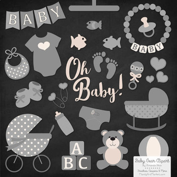 Oh Baby Clipart & Vectors Set in Grey