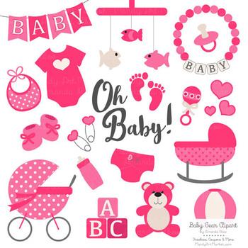 Oh Baby Clipart & Vectors Set in Hot Pink