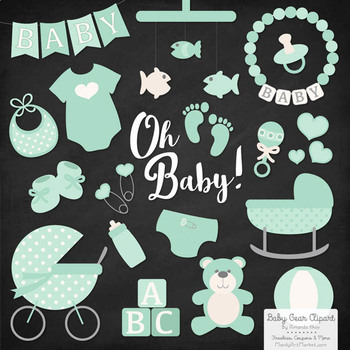 Oh Baby Clipart & Vectors Set in Mint