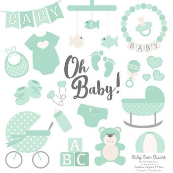 Oh Baby Clipart & Vectors Set in Mint