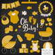Oh Baby Clipart & Vectors Set in Mustard