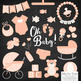 Oh Baby Clipart & Vectors Set in Peach