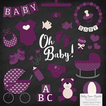 Oh Baby Clipart & Vectors Set in Plum