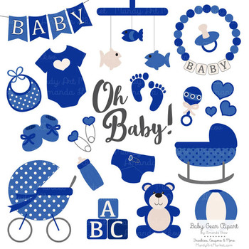 Oh Baby Clipart & Vectors Set in Royal Blue