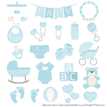 Oh Baby Clipart & Vectors Set in Soft Blue