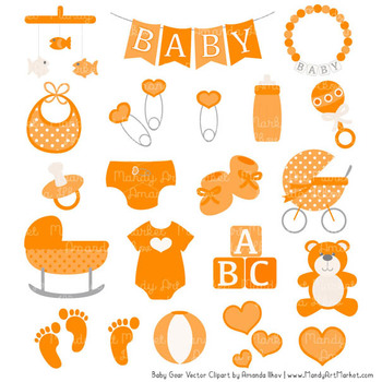 Oh Baby Clipart & Vectors Set in Tangerine