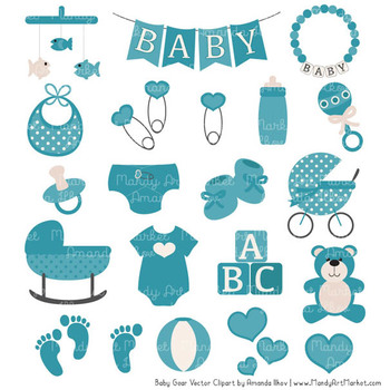 Oh Baby Clipart & Vectors Set in Vintage Blue