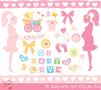 Oh Baby Girl Mom Mommy to be Clipart Set