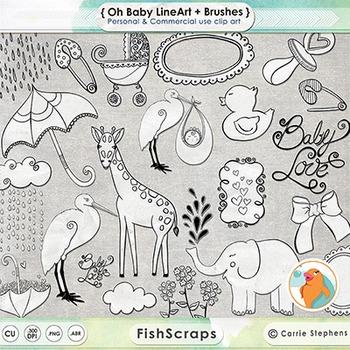 Baby Line Art Illustrations, Whimsical Baby Animals, Stork