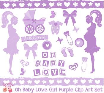 Oh Baby Love, Baby Shower in Purple Lavender Clip Art Set
