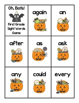 Oh, Bats! FREEBIE Dolch First Grade Sight Words Halloween Game