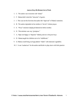 Oh Broom Get to Work Vocabulary Quiz Worksheet