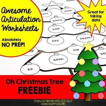 Oh Christmas Tree! Articulation Worksheet FREEBIE