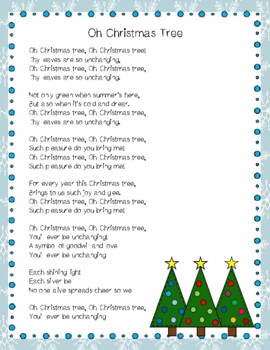 Oh Christmas Tree Christmas Carol Close Reading Activity