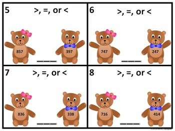 """Greater Than Less Than """"Bears"""" (Task Cards)"""