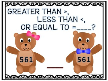 Greater Than Less Than: Boy and Girl Bears (Second Grade T
