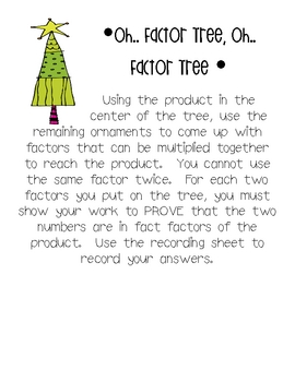 Oh Factor Tree: Using products to determine factors
