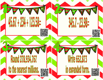 Oh, How I love Your Numbers- Christmas Math Spiral QR  Activity-STAAR Review
