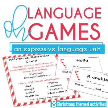 Winter Holiday themed Expressive Language Activities and Games