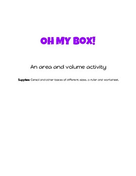 Oh My Box!: An Area and Volume Activity