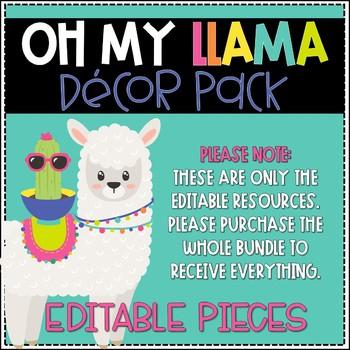 Oh My Llama Editable Resources