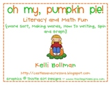 Oh My, Pumpkin Pie! {Math and Literacy Fun}