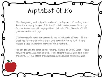 Alphabet Oh No!  A game for learning the letters and sounds of the alphabet