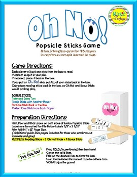 Oh No! Rhythm (Ta Rest and Ti-Ti Rest) Popsicle Sticks Game