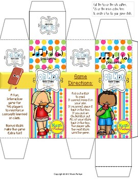 Oh No! Rhythm (Ta, Ti-Ti, Rest and Half Note) Popsicle Sticks Game