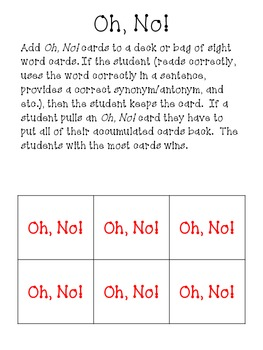 Oh, No! Sight Word Game
