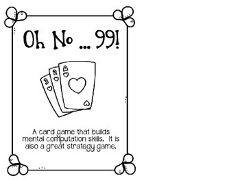 Oh No99 A Card Game All About Math By Mrs Parkers Second Grade