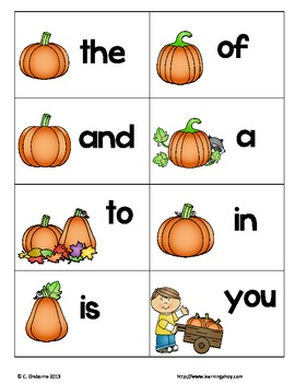 Oh Pumpkin! ~ A sight word recognition game using the first 100 Fry words
