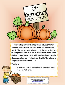 Oh Pumpkin! ~ A sight word recognition game using the firs