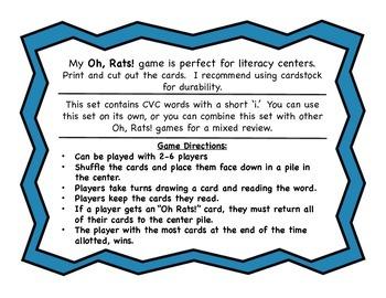 Oh, Rats!  CVC Word Reading Game Short 'i'