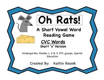 Oh, Rats!  CVC Word Reading Game Short 'o'