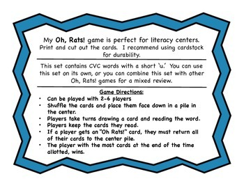 Oh, Rats!  CVC Word Reading Game Short 'u'
